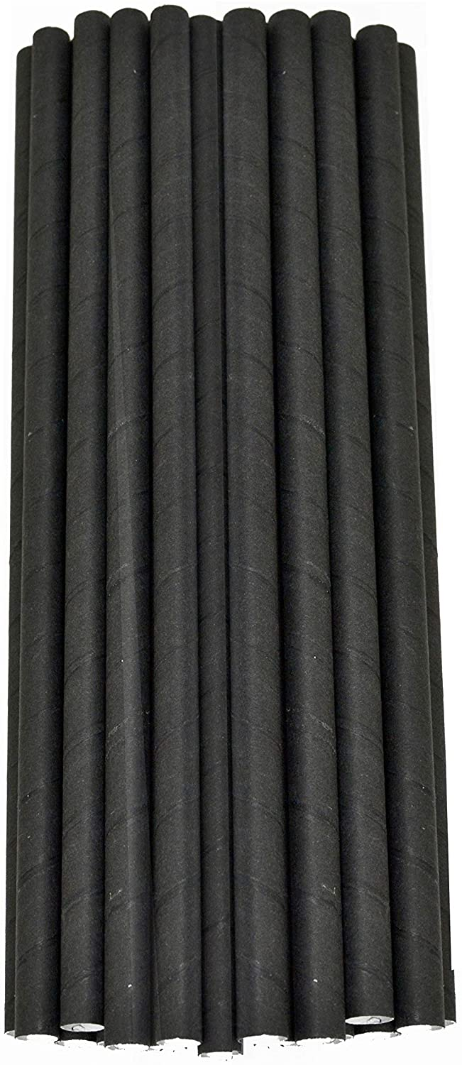 Black Solid Paper Eco Straws Individually Wrapped - 200mm/6mm - Individual Sleeved 2000 straws pack