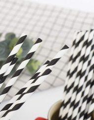 Black Stripe Paper Eco Straws - Normal length 200mm/6mm - 250 straws pack