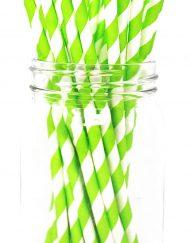 Green Stripe Paper Eco Straws - Normal length 200mm/6mm - 250 straws pack