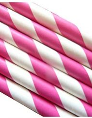 Pink Stripe Paper Eco Straws - Normal length 200mm/6mm - 250 straws pack