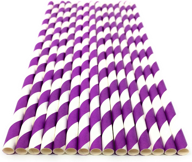 Purple Stripe Paper Eco Straws - Normal length 200mm/6mm - 250 straws pack