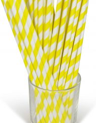 Yellow Stripe Paper Eco Straws - Normal length 200mm/6mm - 250 straws pack
